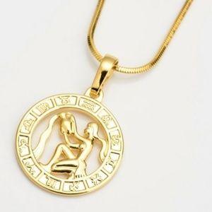 Jewelry - Gold Filled Horoscope Pendant Aquarius Necklace
